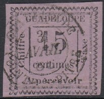 Guadeloupe 1876-1903 - Timbre-taxe N° 8 (YT) N° 8 (AM) Oblitéré. Type I. Aminci. - Guadeloupe (1884-1947)