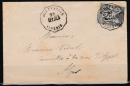 Algerie Sage 15c. N°77 Obl. Convoyeur BOUFFARICK  AFF-ALG Sur Lettre Pour Alger Datée Du 28 Mai 1878 - Poststempel (Briefe)