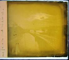 Paris, Inondation 1910 : Soleil Couchant, Ligne Ouest Submergée Vue Du Pont Mirabeau Plaque Verre Stéréoscopique Négatif - Diapositivas De Vidrio