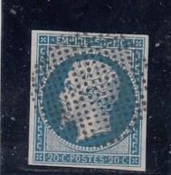France - Napoléon III - N°Y.T 14A- 20c Bleu - Oblit. Cercle De Points - 1853-1860 Napoleon III