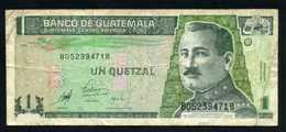 Guatemala 1 Quetzal 1983 Billete Banknote Circulado Pliegues - Billetes