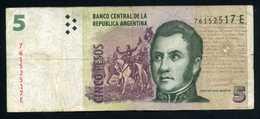 Argentina  5 Pesos 2003 Billete Banknote Circulado Pliegues - Billetes