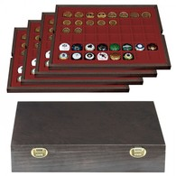 Lindner 2494-6 Authentic Wood Case CARUS With 4 Trays For 192 Coin Capsules Up - Placas De Cava