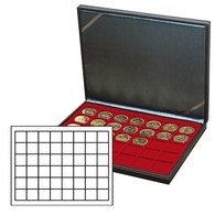 NERA M Coin Case With A Dark Red Insert With 48 Square Compartments - Placas De Cava