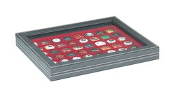 NERA M PLUS Coin Case With A Dark Red Insert With 48 Square Compartments - Placas De Cava