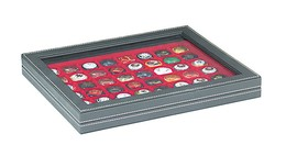 NERA M PLUS Coin Case With A Light Red Insert With 48 Square Compartments - Placas De Cava