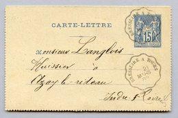 ENTIER 15C SAGE OB BRESSUIRE A TOURS   EN DATE DU 21/3/1889 - Entiers Postaux