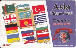 TURKEY - Flags, Teleline Prepaid Card 5 TL, Used - Turquie