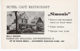 HOLLANDE- RIJSBERGEN - CARTE VISITE HOTEL CAFE RESTAURANT SIMONIS - Publicités