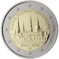 Letonia 2014 2 € Euros Conmemorativos Riga Capital De La Cultura - Monete