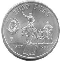 España Juan Carlos 2000 Pesetas 1997 De Plata Quijote Sancho Panza - Monedas