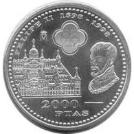 España Juan Carlos 2000 Pesetas 1998 De Plata Felipe II Escorial - Monedas