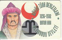 TURKEY(chip) - Altinordu State 1236-1502 Ad Founder Batur Han, Turk Telecom Telecard 50 Units, Chip CHT17, 03/02, Used - Turquie