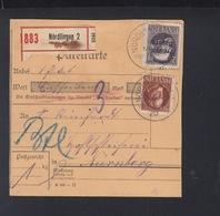 Bayern Paketkarte Nördlingen Nach Nürnberg (2) - Bayern (Baviera)
