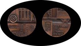 Barcelona Medalla 1972 Centenario Del Tranvía SPM Transportes De Barcelona - Coins