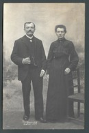 Duo Un Couple De DOUAI (59) En 1916 Décor Studio Trompe L'oeil LA MODE D'AUTREFOIS Carte PHOTO - A Identifier