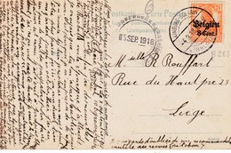 GUERRE 1914-18 -  Occupation * LIMBURG -DOLHAIN Sur OC13 Vers LIEGE - CENSURE UBERWACHUNGSSTELLE 1918 - WW I