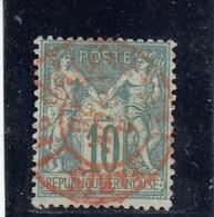 France - Sage, Type I - YT N°65 - 10c Vert - Oblit CàD Rouge - 1876-1878 Sage (Type I)
