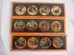 Lanterne Magique Lot De 3 Plaques En Verre Peintes Enfants - Diapositiva Su Vetro