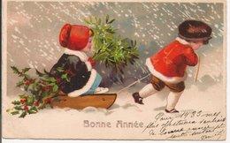 L60b081  - Bonne Année - Dessin D'enfants Sous La Neige Avec Une Luge - Umport N°9133 - Anno Nuovo