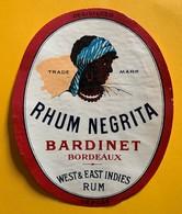 12271 - Rhum Negrita Bardinet Bordeaux West & East Indies Rum (années 40) - Rhum