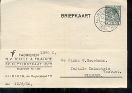 Nijmegen - Textile & Filature Fabrieken - 1930 - Tilburg - Poststempels/ Marcofilie