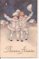 L60b086  - Bonne Année - Dessin D'enfants Sous La Neige, Dans La Nuit  - Doris N°3850 - Año Nuevo