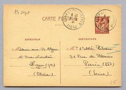 CP OB 8/9/1941  CAMP DE CHAMBARAN ISERE - CAMP UTILISE A CETTE EPOQUE PAR TRAVAILLEURS ÉTRANGERS - Marcophilie (Lettres)