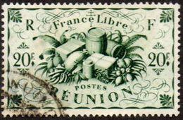Réunion Obl. N° 246 - Détail De La Série De LONDRES De 1943 - Productions - 20f Vert - Réunion (1852-1975)