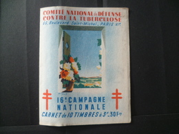 CARNET ANTITUBERCULEUX 16° CAMPAGNE  PUBLICITE SAVON DENTIFRICE - Commemorative Labels