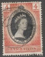 Barbados. 1953 QEII Coronation. 4c Used. SG 302 - Barbados (...-1966)