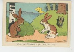 """Illustrateur BENJAMIN RABIER - Lapins Et Chien """"C'est Un Chasseur Qui M'a Fait çà ! """" - Pub Pour LA BLÉDINE JACQUEMAIRE - Rabier, B."""