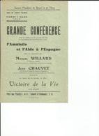 Guerre D'ESPAGNE Affichette Conférence - Secours Populaire De Rouen Et De L'Eure M. Villard - Jean Chauvet - Historische Dokumente