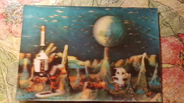 Space Rocket - Moon Surface  -  Old Color 3D Postcard  - Stereo - 1980s - Stereoscopische Kaarten