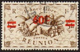 Réunion Obl. N° 253 - Détail De La Série De LONDRES Surchargé En 1945 - Productions - 60c Sur 5 C Sépia - Oblitérés