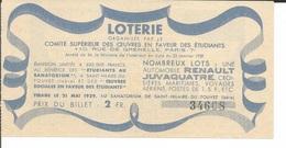 Billet De Loterie Comité Supérieur Des Oeuvres En Faveur Des étudiants - Billets De Loterie