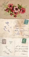 Un Bonjour Du Gué-de Velluire X 3 - Et Affran Hexag Point 1953 / Timbre Taxe Et Cachet 1917 - Francia
