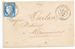 LOT ET GARONNE ENV  MIGNONNETTE 1876 COCUMONT T²7 SUR CERES FIN DU GC - Storia Postale