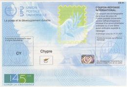 Cipro Chypre Coupon-Réponse International Reply Coupon Antwortschein UPU U.P.U. Universal Postal Union 145° Anniversario - UPU (Unione Postale Universale)