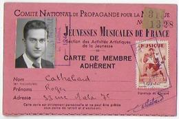 Carte Bon Etat  8x12.5cm , Jeunesse Musicales De France , Membre Adhérent, Photo , Timbre Tampon - Frankreich