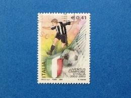 2003 ITALIA FRANCOBOLLO USATO STAMP USED CALCIO JUVENTUS CAMPIONE D'ITALIA - 6. 1946-.. Republik