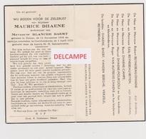 DOODSPRENTJE DHAENE MAURICE WEDUWNAAR BAERT DEINZE OOSTDUINKERKE 1888 - 1959  Bewerkt Tegen Kopieren - Imágenes Religiosas