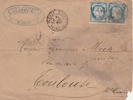 Yvert 60C X 2 Paire LSC Cachet ELBEUF Seine Inférieure 6/5/1876 à Toulouse Haute Garonne - Lettre En Mauvais état - Postmark Collection (Covers)