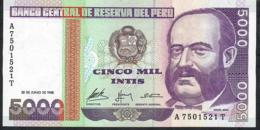 PERU P137 5000 INTIS   28.6.1988     UNC. - Perú