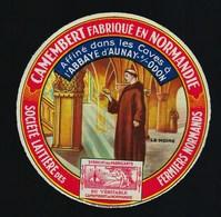 Etiquette Fromage  Camembert Normandie   Le Moine Ste Laitiere Des Fermiers Normands  Abbaye D'Aunay Sur Odon Calvados - Formaggio