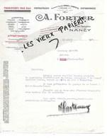 54 - Meurthe-et-moselle - NANCY - Facture FORTIER - Transports Par Eau, Affrètements - 1930 - REF 124C - 1900 – 1949