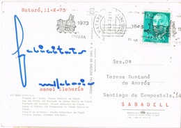 34757. Postal MATARÓ (Barcelona) 1973. Rodillo Especial Tren , Ferrocarril - 1971-80 Briefe U. Dokumente