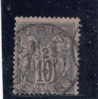 France - Sage, Type II - N°YT 89 - 10c Noir S.lilas - Oblit CàD - 1876-1898 Sage (Tipo II)