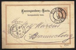 Austria Tarjeta Postal De Pilsen A Braunschweig (Alemania) 1896 - Sin Clasificación