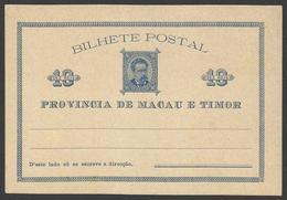 Macao Y Timor Postal Prefranqueada 1885  Sin Circular - Postales